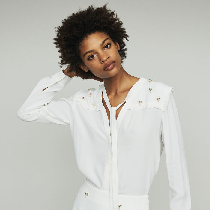 Crepe blouse with palm jewels : Tops & Shirts color Ecru