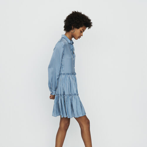 Striped shirt dress with ruffles : Dresses color Stripe