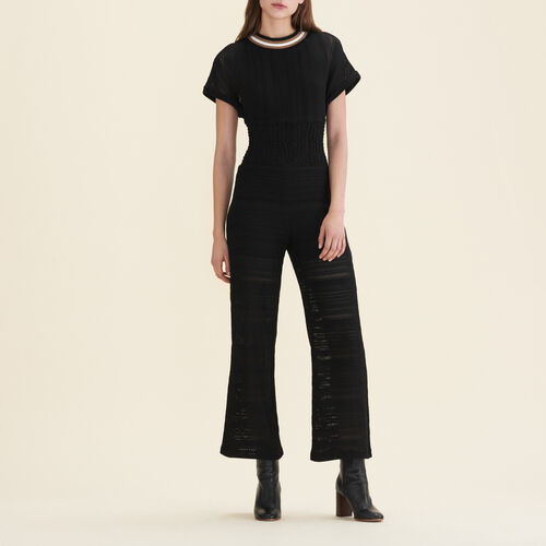 Knitted jumpsuit : Trousers color Black 210