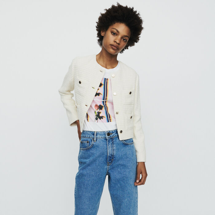 Cropped tweed jacket : Blazers color Ecru