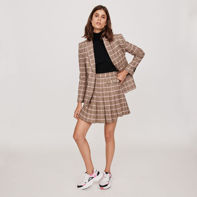 Pleated plaid kilt-style skirt -  - MAJE