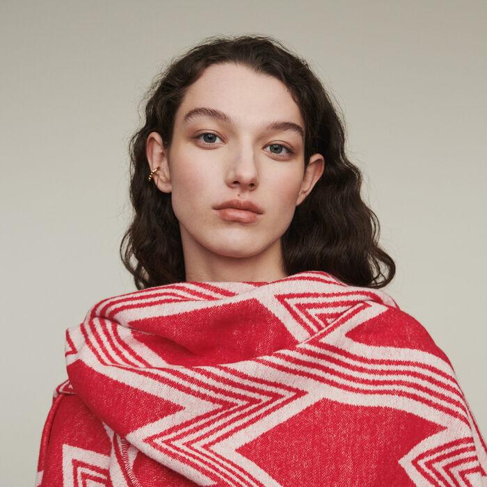 Poncho with M art deco motif : Shawls & Ponchos color Red