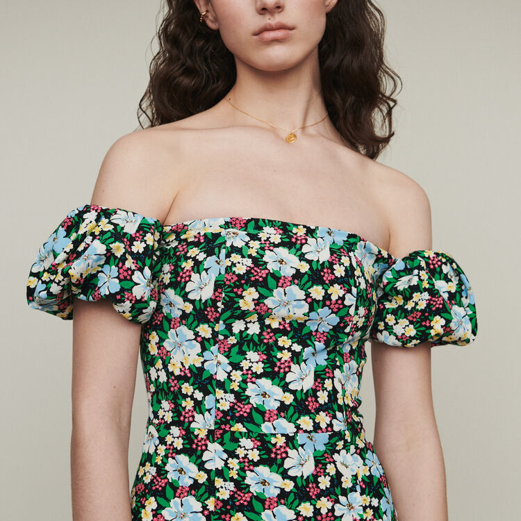 Bustier printed cold-shoulder dress : Dresses color Print