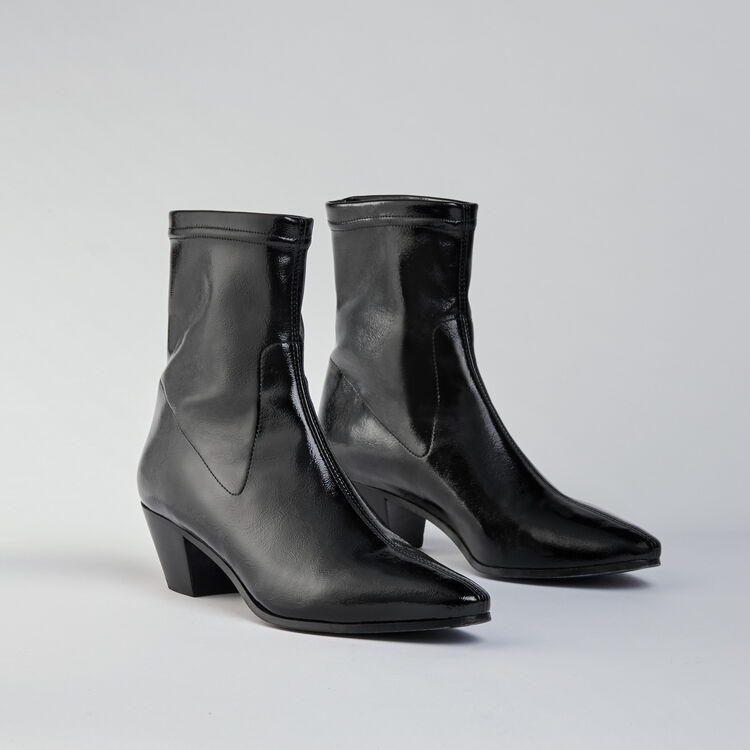 Heeled stretch vinyl booties : Booties & Boots color Black