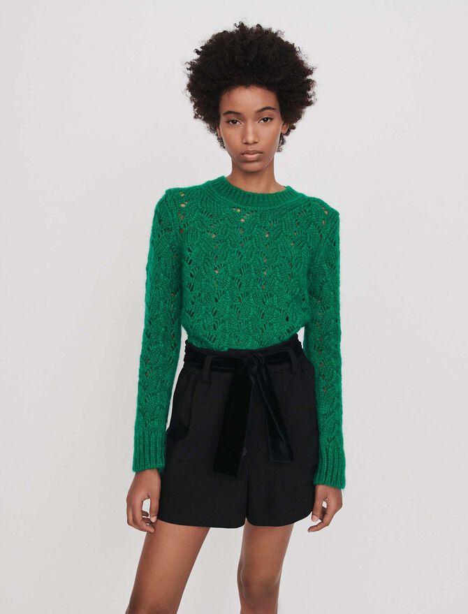 Belted velvet shorts -  - MAJE