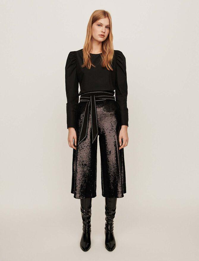 Sequin bermuda-style pants -  - MAJE