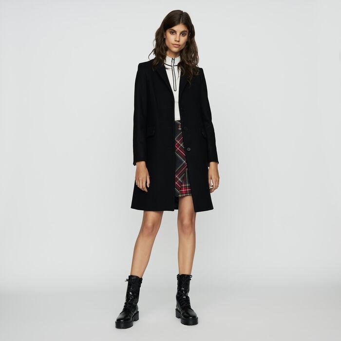 Straight coat in virgin wool : Coats color Black 210