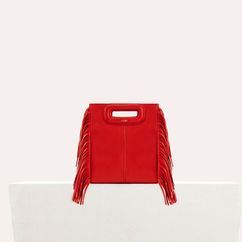 Fringed suede M minibag : Special occasion color RED