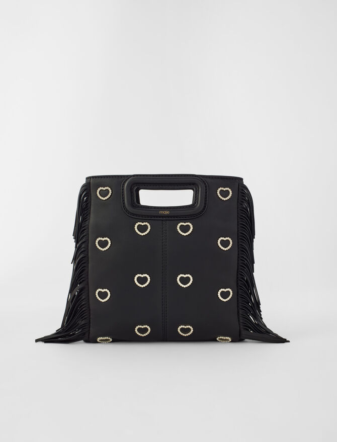 Leather M bag with rhinestone heart - All - MAJE