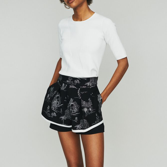 Embroidered crepe shorts - See all - MAJE