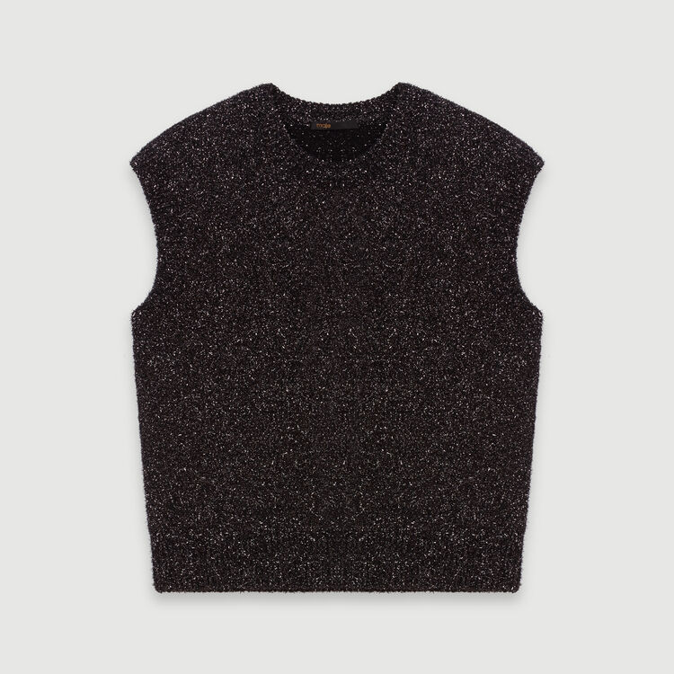 Lurex sleeveless sweater : Pullovers & Cardigans color Silver