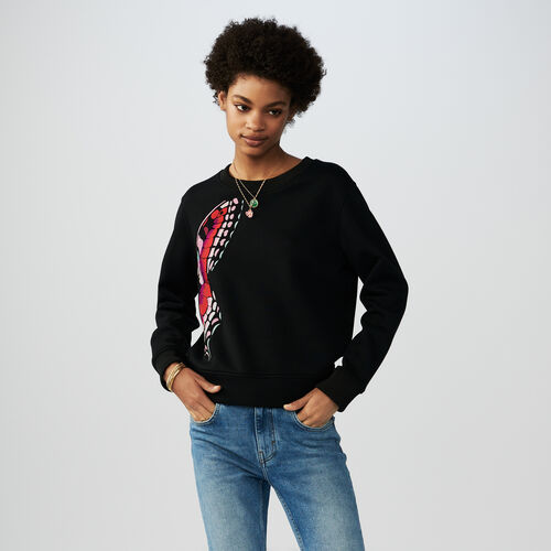 Butterfly embroidered sweatshirt : T-Shirts color Black 210