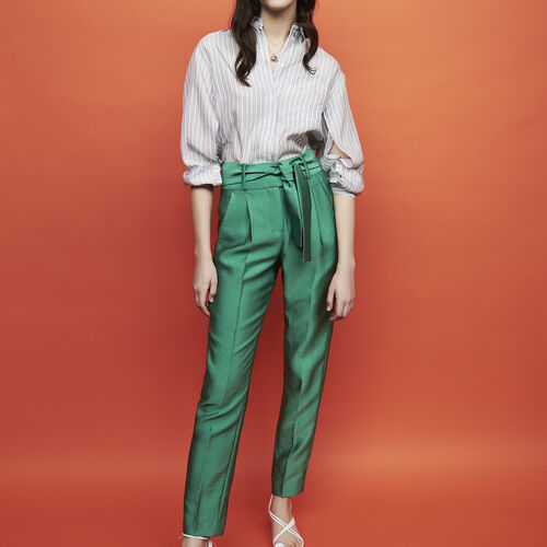 Trousers with knotted belt : Trousers color Green