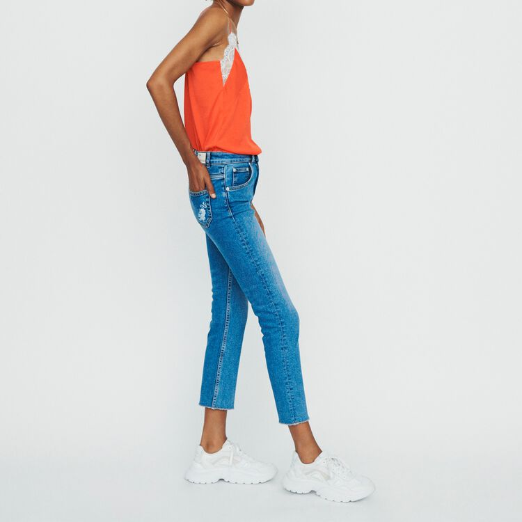 Straight jeans with fringe : Jeans color Denim