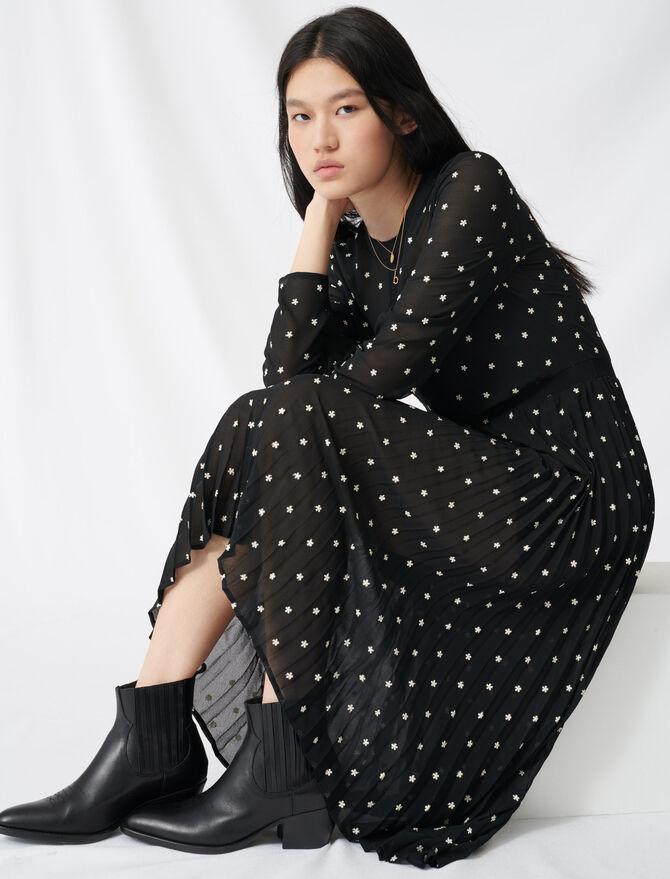 Robe longue plissée avec broderies - Pap_Robes - MAJE
