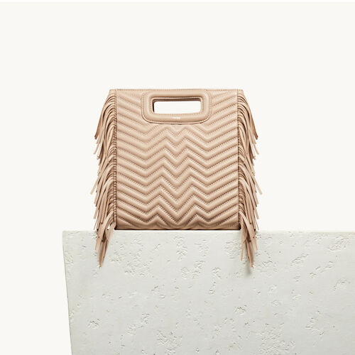 Quilted leather M bag : M bags color Nude