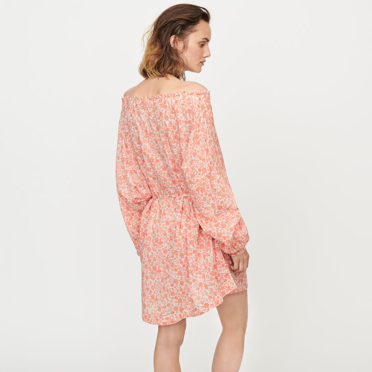 Short floral-print cotton voile dress : Dresses color Coral