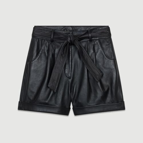 Oversized leather shorts : Skirts & Shorts color Black 210