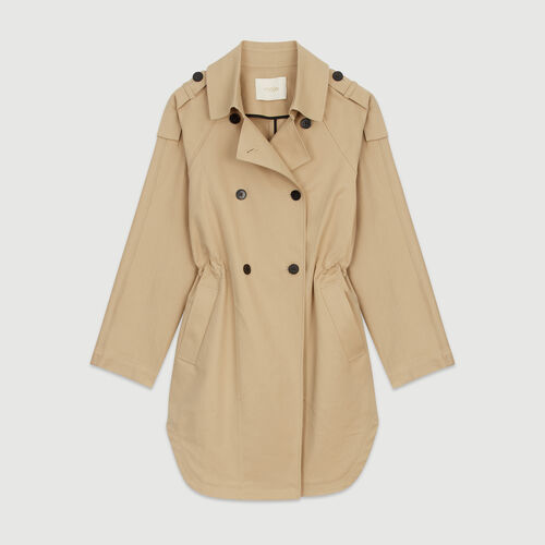Short trench in cotton canvas : Coats color Beige