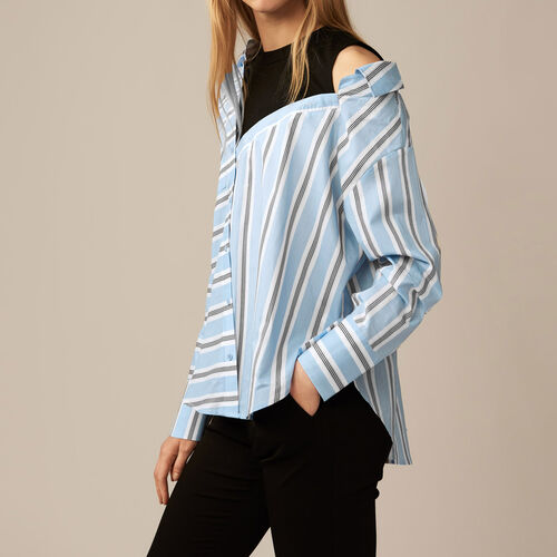 Deconstructed shirt in striped poplin : Shop by color Blue Sky
