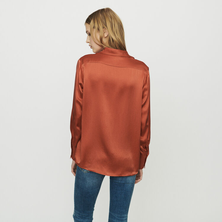 Silk blouse : Shirts color Terracota