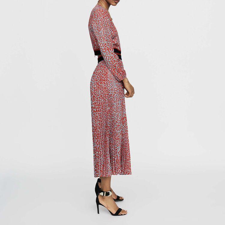 e2e99e53b7 ROMILDA Long pleated dress in leopard print