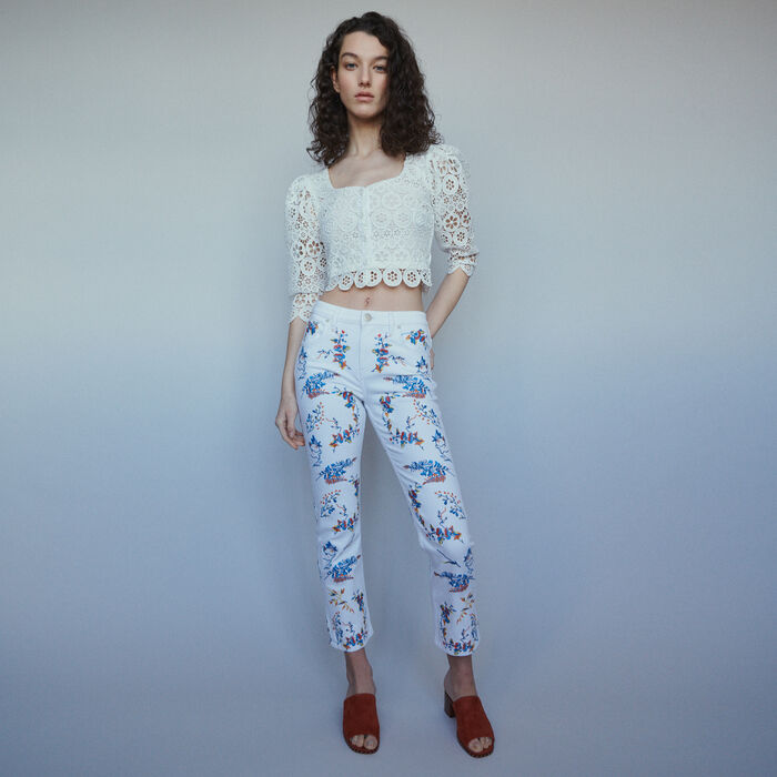 Straight embroidered jeans : Jeans color Multico