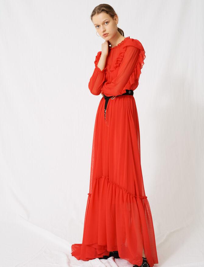 Long muslin dress with ruffles - Dresses - MAJE