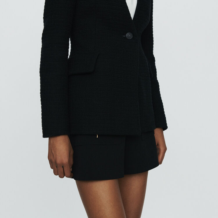 Collarless tweed-style jacket : Blazers color Black 210