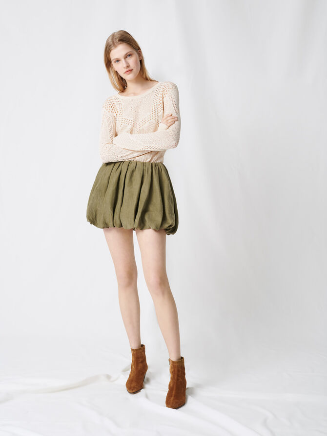 Jupe courte drapée - Pap_Jupes-Shorts - MAJE