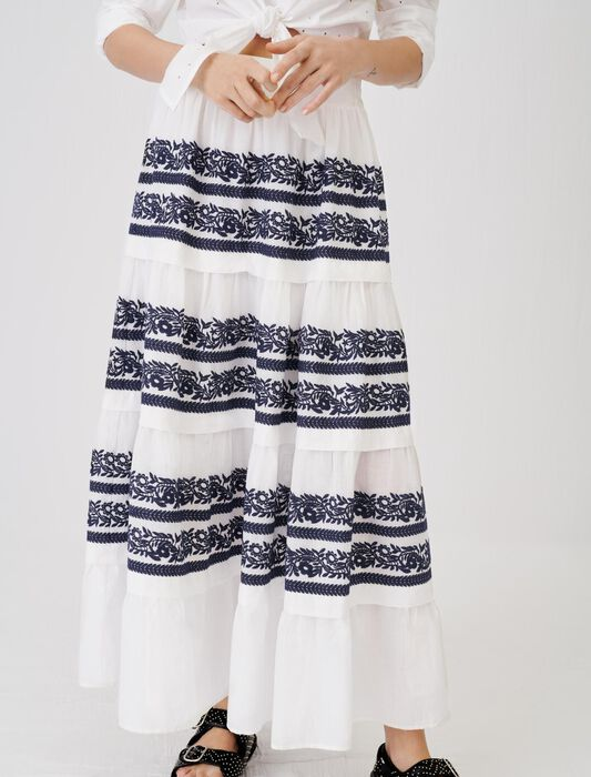 Skirt with all-over embroidery : Skirts & Shorts color Navy