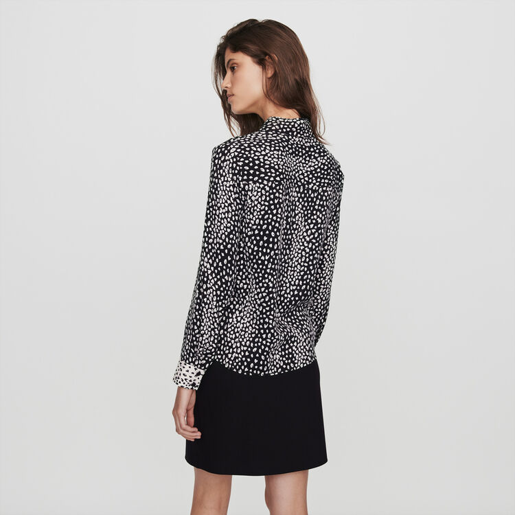 Patched jacquard-printed shirt : Tops & Shirts color Black