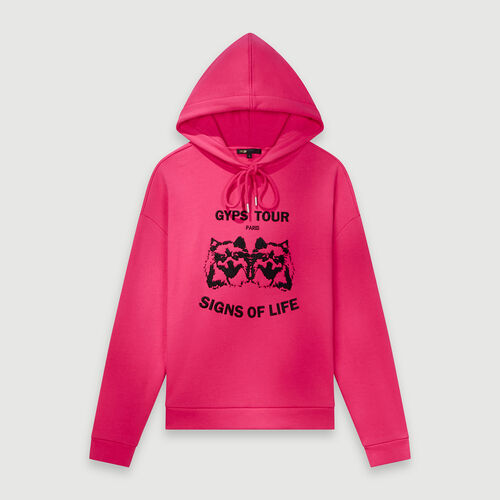 Embroidered hooded sweatshirt : Pullovers & Cardigans color Fuchsia