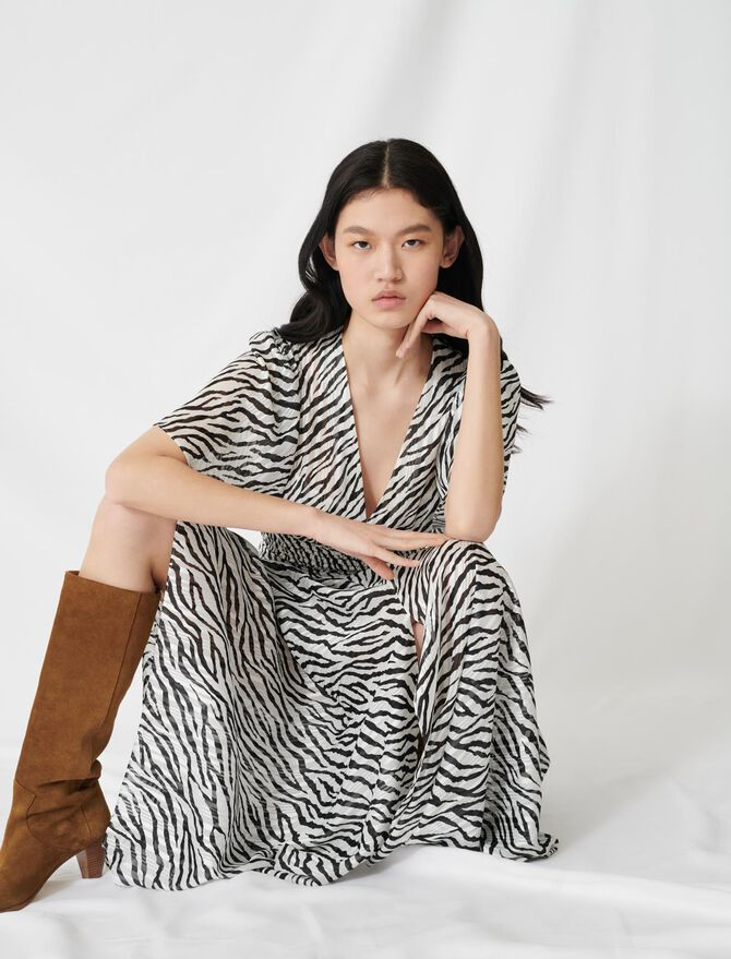 Long lurex jacquard zebra-print dress - Dresses - MAJE