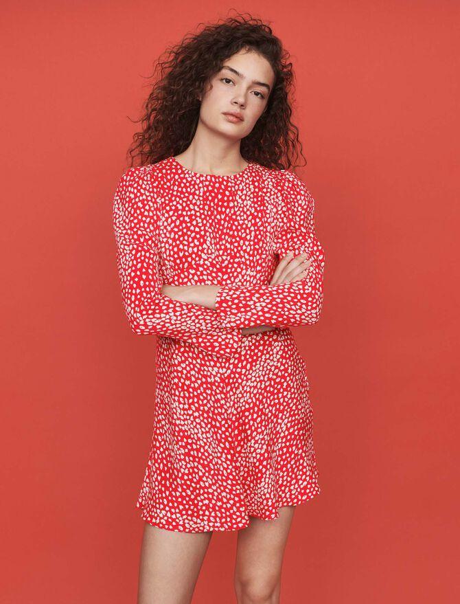 Jacquard-printed gathered dress - SoldesBE_30 - MAJE