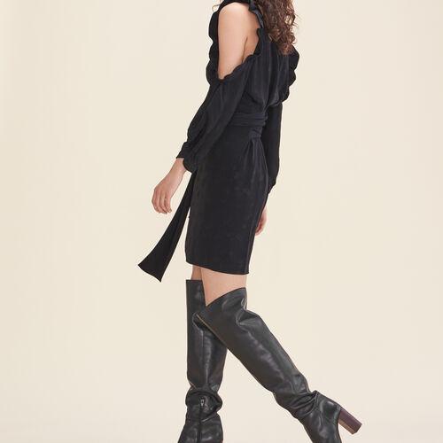 Printed crêpe off-the-shoulder dress : Dresses color Black 210