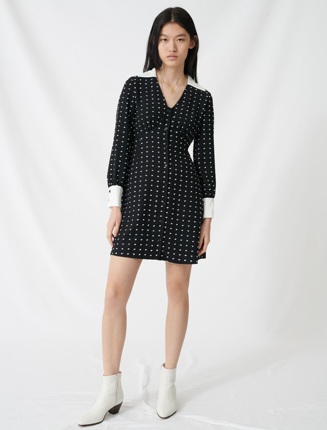 Polka dot dress with contrasting details - Dresses - MAJE