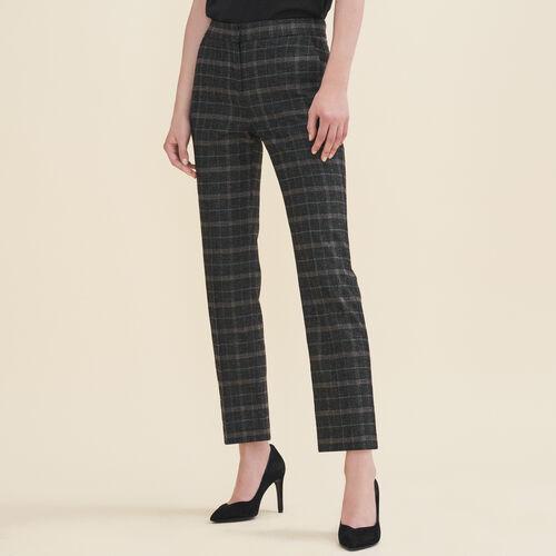Tartan cigarette trousers : Trousers color Jacquard