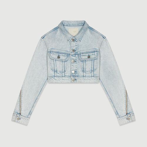 Veste courte en jean délavé : Pap_Vestes couleur DENIM