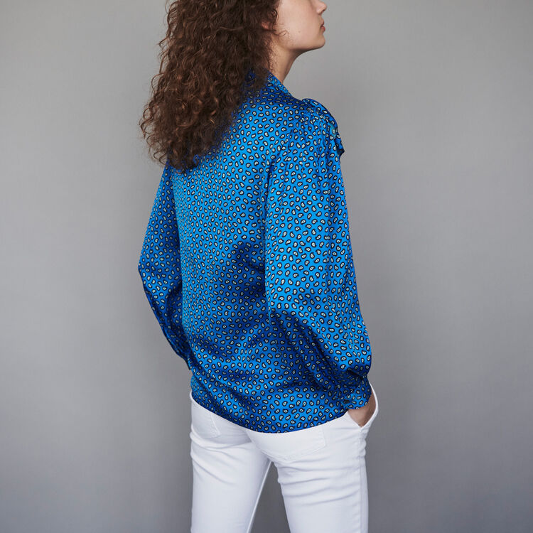 Printed silk ruffled shirt : Tops & Shirts color Blue