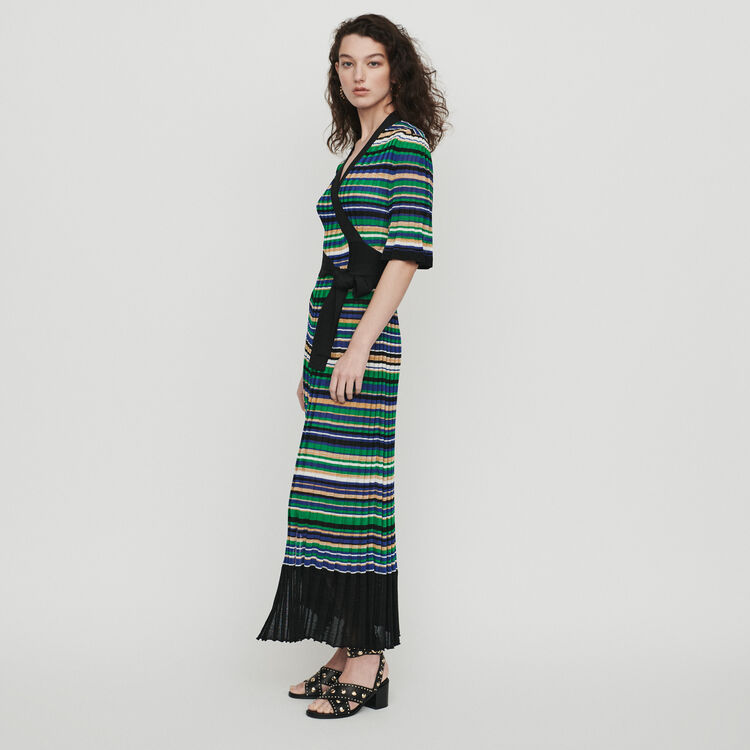 Long dress in striped knit : Dresses color Multico