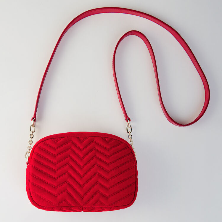 Quilted velvet shoulder bag : Sami bag color Rouge
