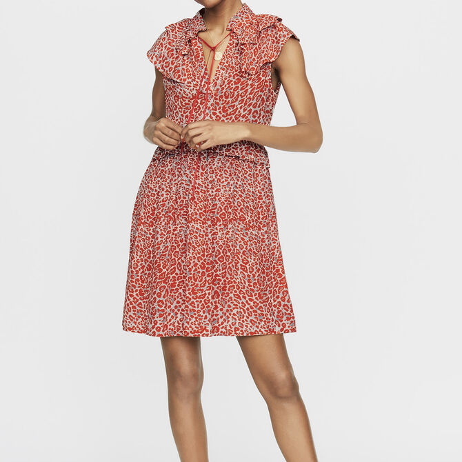 Robe sans manches à imprimé léopard - Flowing dresses - MAJE