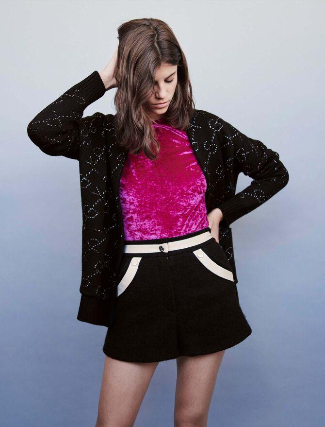 Short façon tweed à bandes contrastées - SoldesFR_Jupes_shorts - MAJE