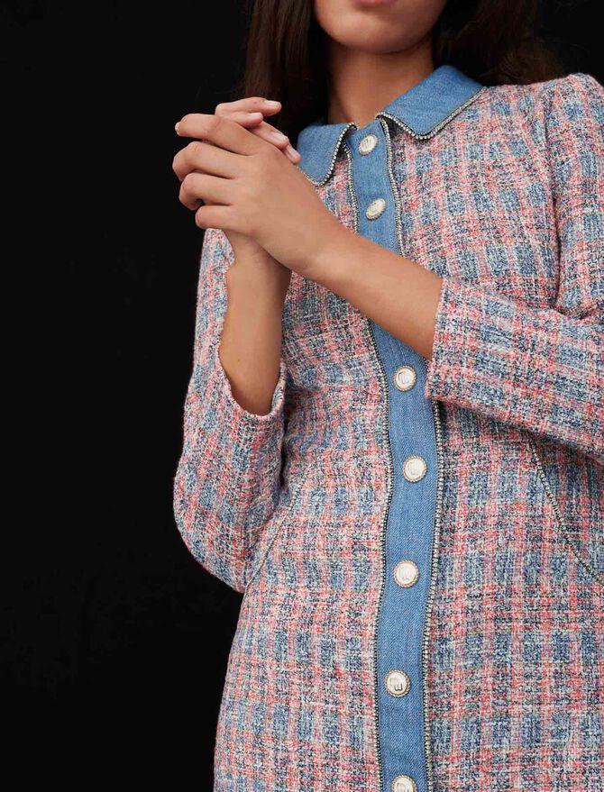 Tweed dress with denim contrasts - Dresses - MAJE