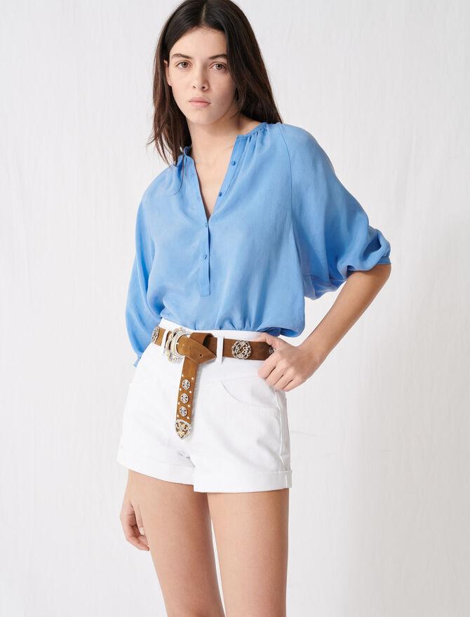 Belted denim shorts - Skirts & Shorts - MAJE
