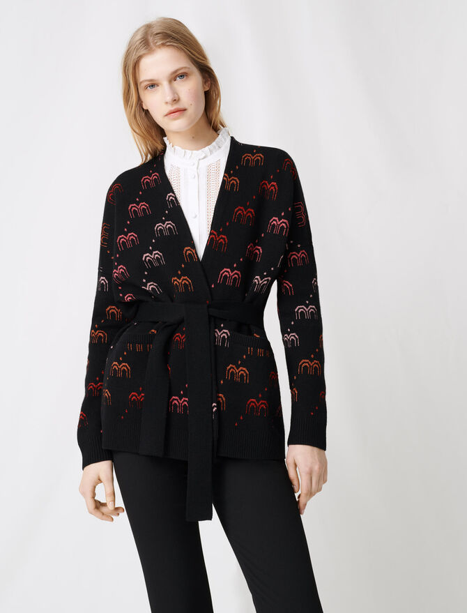 Monogrammed jacquard cardigan - Pullovers & Cardigans - MAJE
