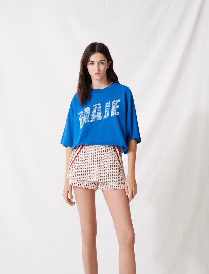 Screen-printed cropped T-shirt - T-Shirts - MAJE