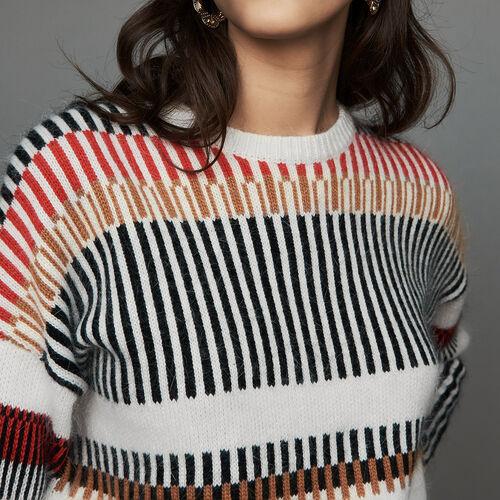 Oversize sweater in wool blend : Knitwear color Multico