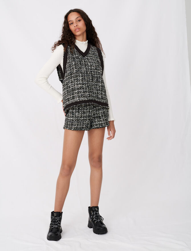 Tweed-style top with contrast trims - Tops & Shirts - MAJE